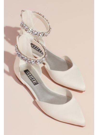 White by Vera Wang Ivory (Satin d'Orsay Flat with Embellished Ankle Strap)