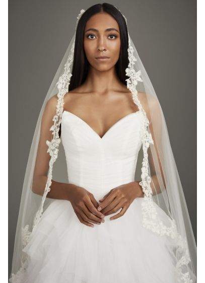 Corded Lace Applique Square-Cut Walking Veil - Square-cut angles give a modern look to this