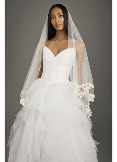 Corded Lace Applique Mid-Length Veil - Dimensional floral appliques bloom along the edge of