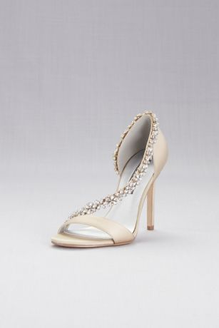 Ivory Sandals (High-Heeled Sandals with Crystal Flower Strap)