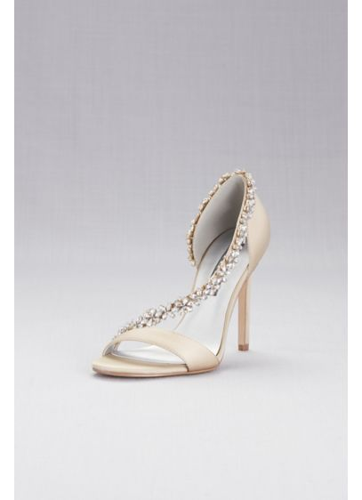 High-Heeled Sandals with Crystal Flower Strap - Brilliant crystal flowers trim the swooping straps on