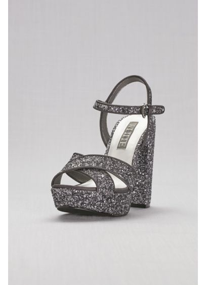 Crisscross Chunky Glitter Platform Heels - Glittery and glam, these towering crisscross platforms from