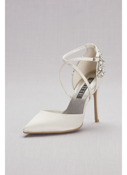 White by Vera Wang Ivory (Pointed-Toe Cross-Strap Heels with Crystal Back)