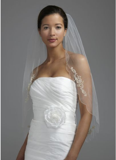Beaded and Crystal Motif Scalloped Edge Veil - This beaded and embroidered scallop-edged veil is the