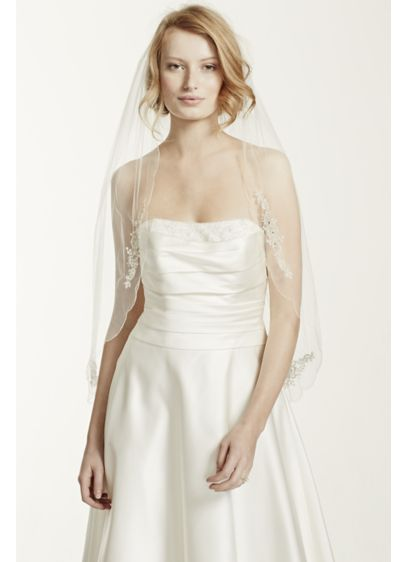Scalloped Edge Veil with Bead and Crystal Motif - Wedding Accessories