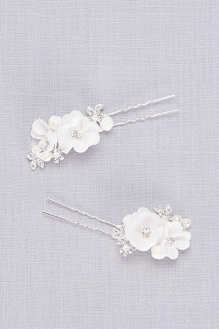 Set de Pasadores Florales Con Perlas