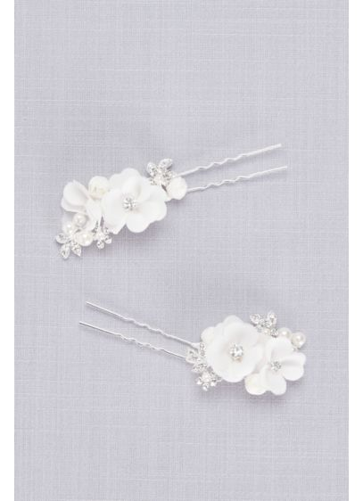 Fabric Flower and Pearl Hair Pin Set - Add some polish to your updo with this