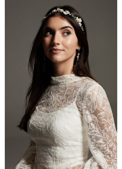 Pearl and Crystal Flower Garland Headband - This charming White by Vera Wang headband features
