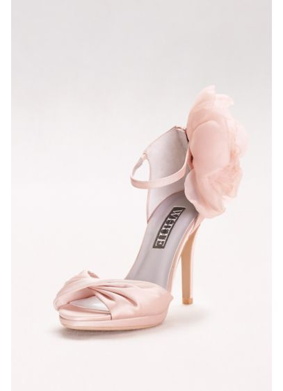 d7b6cb3f5b395b Twisted Satin Peep-Toes with Chiffon Flower | David's Bridal