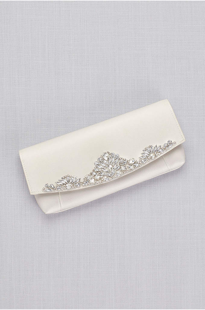 Satin Clutch with Crystal Fan Detailing - Fanned crystals gracefully adorn this sleek satin clutch