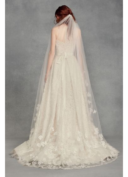 Floral Lace Applique Chapel Veil - White by Vera Wang's beautiful chapel-length tulle veil