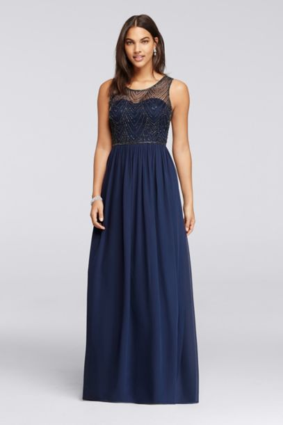 Long Dress With Illusion Sweetheart Beaded Bodice David
