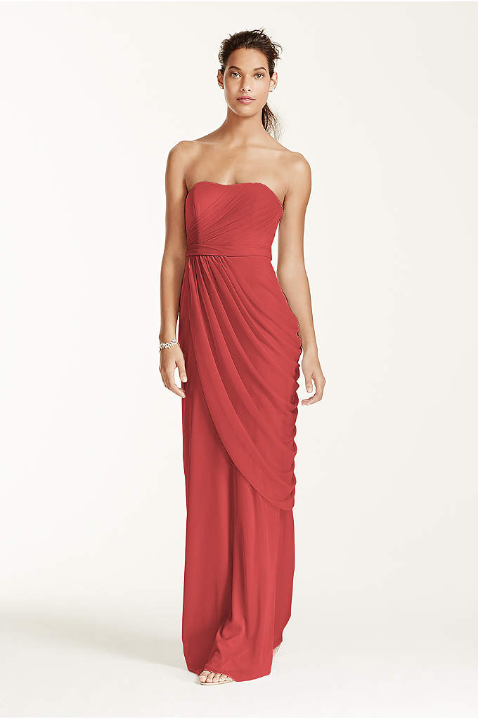 Long Strapless Mesh Dress with Side Draping - Breathtakingly beautiful, your wedding party will look beautiful