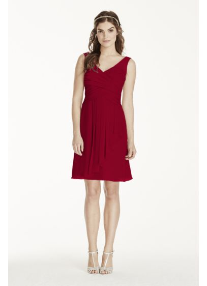 Short Red Soft & Flowy David's Bridal Bridesmaid Dress