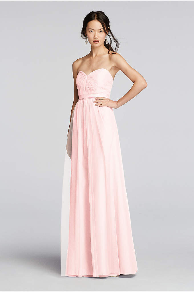 Strapless Tulle LongDress with Removable Belt - Ethereal tulle makes for a dreamy wedding party.