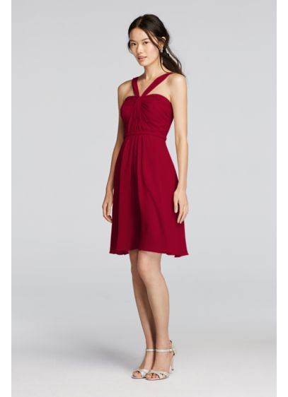 Short Red Soft Flowy David S Bridal Bridesmaid Dress