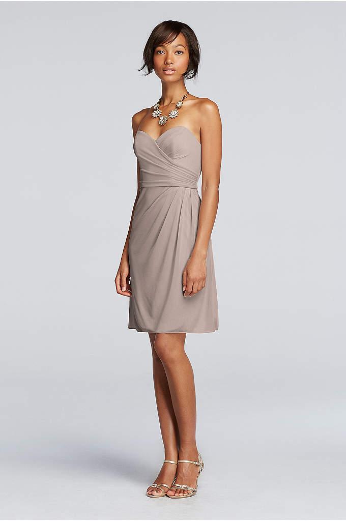 Short Strapless Mesh Dress with Sweetheart Neck - The striking sweetheart neckline on this short mesh