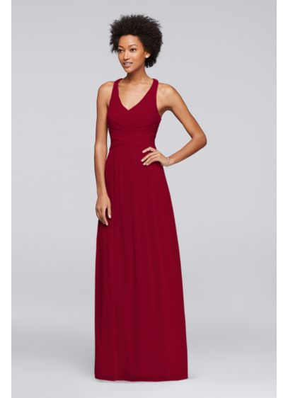 Mesh Long Bridesmaid Dress With Crisscross Back David S