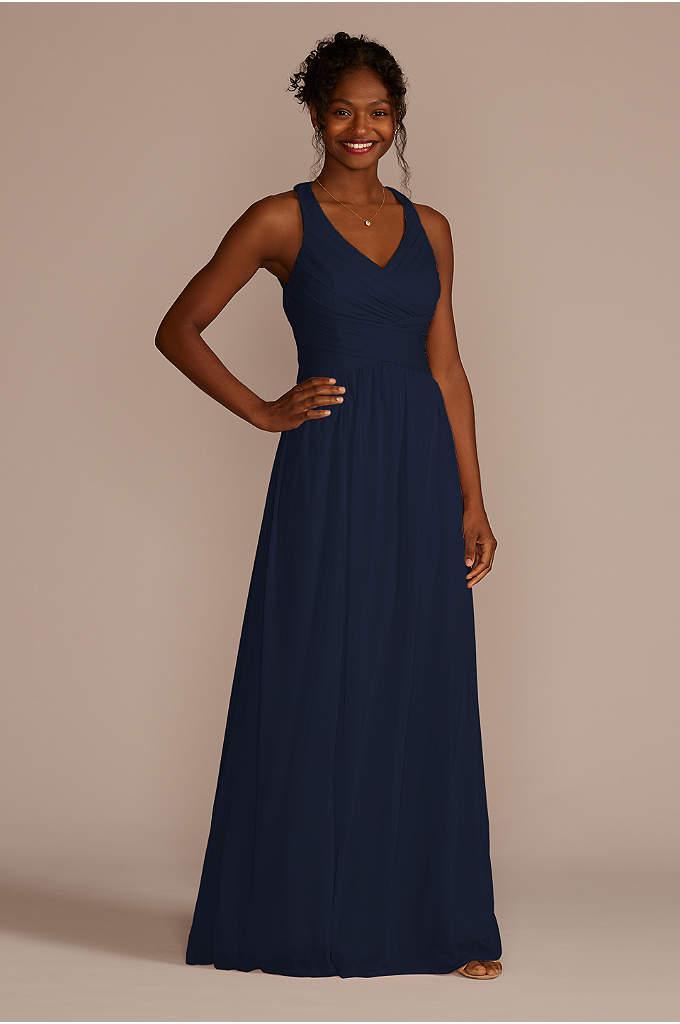 Mesh Long Bridesmaid Dress with Crisscross Back - This long mesh bridesmaid dress is a flattering