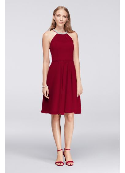 Short Chiffon Dress with Beaded Illusion Neckline | David\'s Bridal