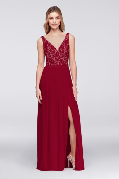 Illusion V Neck Lace And Mesh Dress Davids Bridal