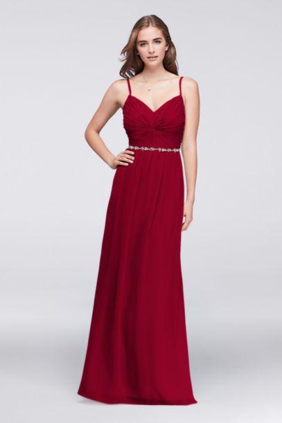 twist bodice chiffon dress with beaded belt davids bridal