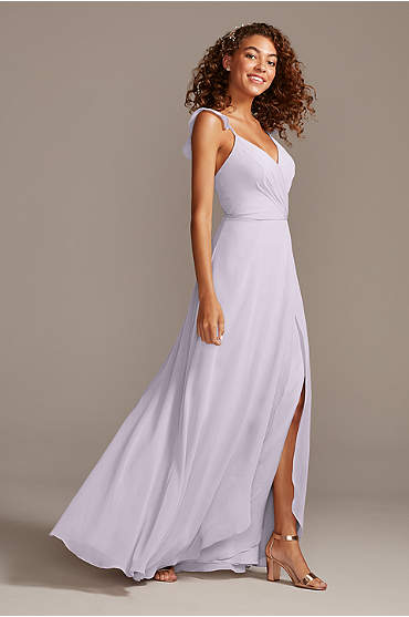 Ruffle Spaghetti Strap Chiffon Bridesmaid Dress