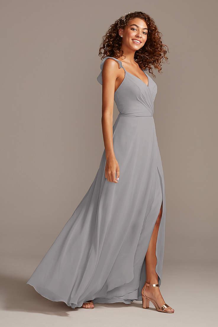 Slate Grey Lace Bridesmaid Dresses