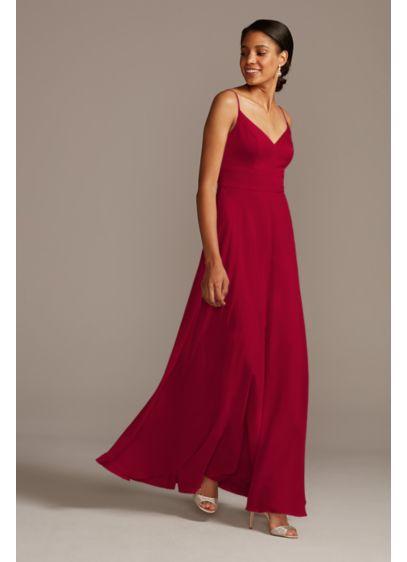Spaghetti Strap Crepe-Back Satin Bridesmaid Dress - This elegant V-neck, spaghetti-strap bridesmaid dress combines modern