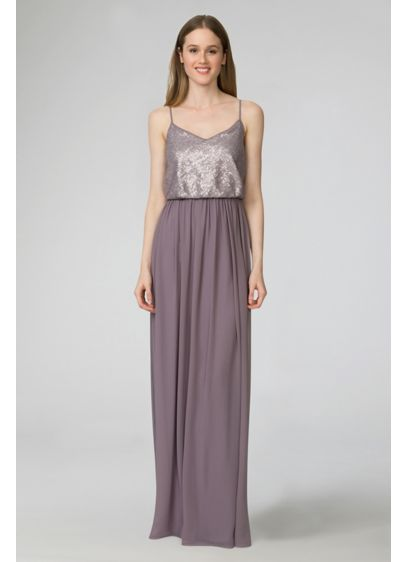 Long Grey Soft & Flowy Donna Morgan Bridesmaid Dress