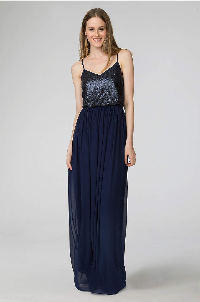 Paige V Neck Sequin And Chiffon Bridesmaid Dress Combining The Sophisticated Eal Of Separates