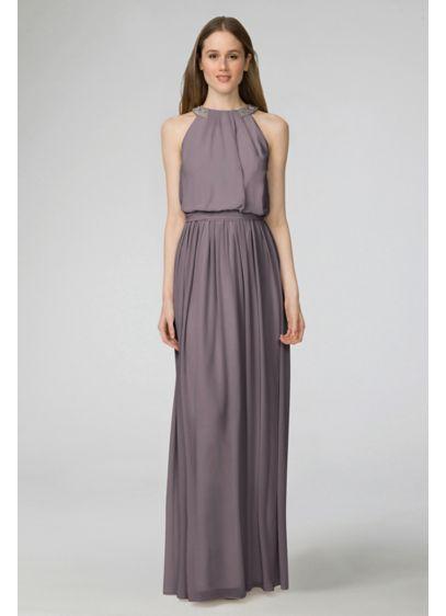 Long Grey Soft & Flowy Donna Morgan Bridesmaid Dress