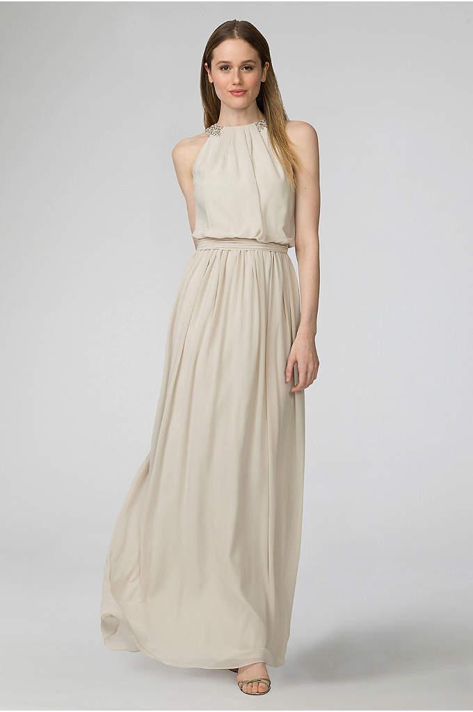 Peyton Chiffon Bridesmaid Dress with Bead Neckline - The jeweled neckline of this chiffon bridesmaid creates
