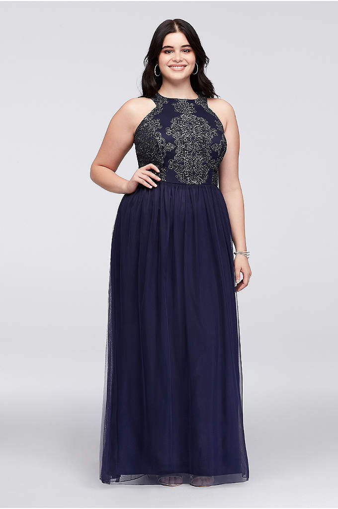 Caviar Beaded Tulle Plus Size Gown with Open - Bold swirls topped with tiny caviar beads and
