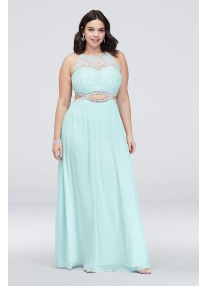 Crystal Cutouts and Lace High-Neck Plus Size Dress - Lace cascades atop the bodice of this plus-size,