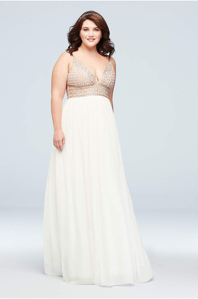 Chiffon A-Line Plus Size Dress with Beaded Bodice - A beaded bodice with a plunging V-neckline make