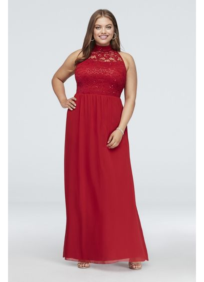 High-Neck Illusion Lace and Chiffon Plus Size Gown - A high neck and soft A-line shape make