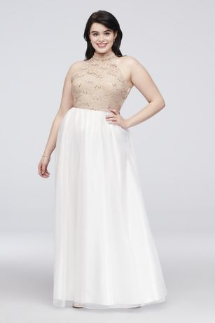 Ladder Back Lace and Tulle Plus Size Gown | David\'s Bridal