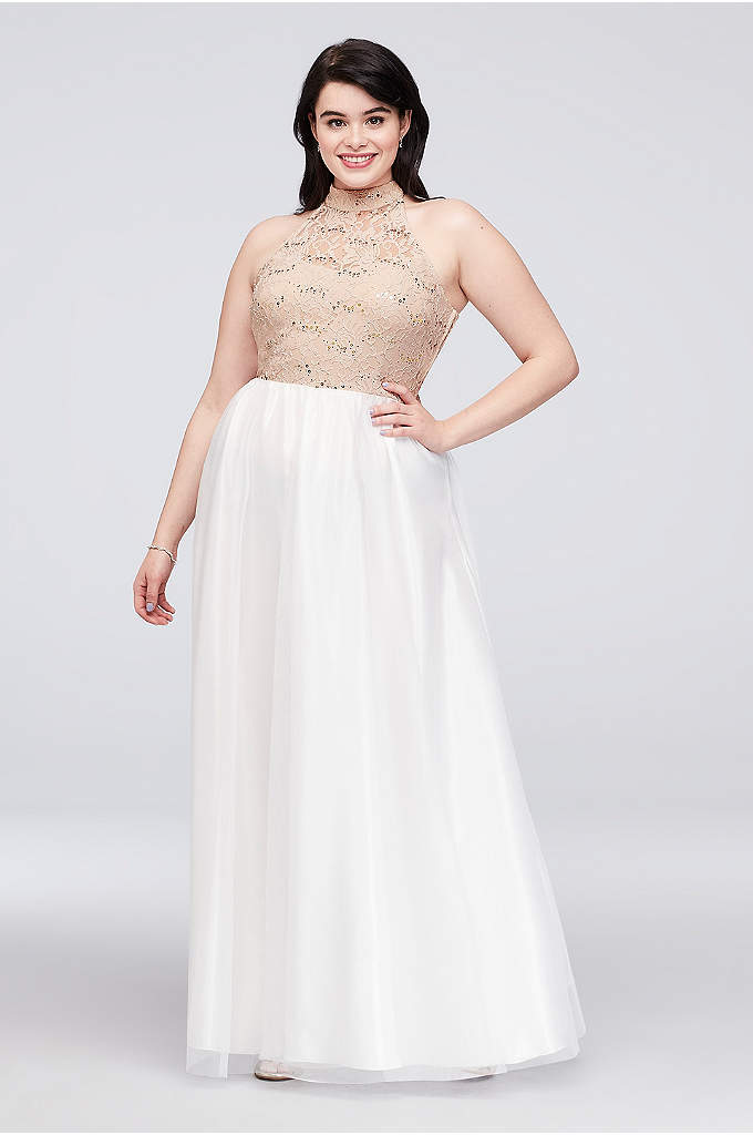 Ladder Back Lace and Tulle Plus Size Gown - The open, ladder-back detail of this sequined lace