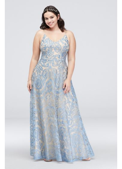 Plus Size Gown with Skinny Straps and Lace Overlay | David\'s ...