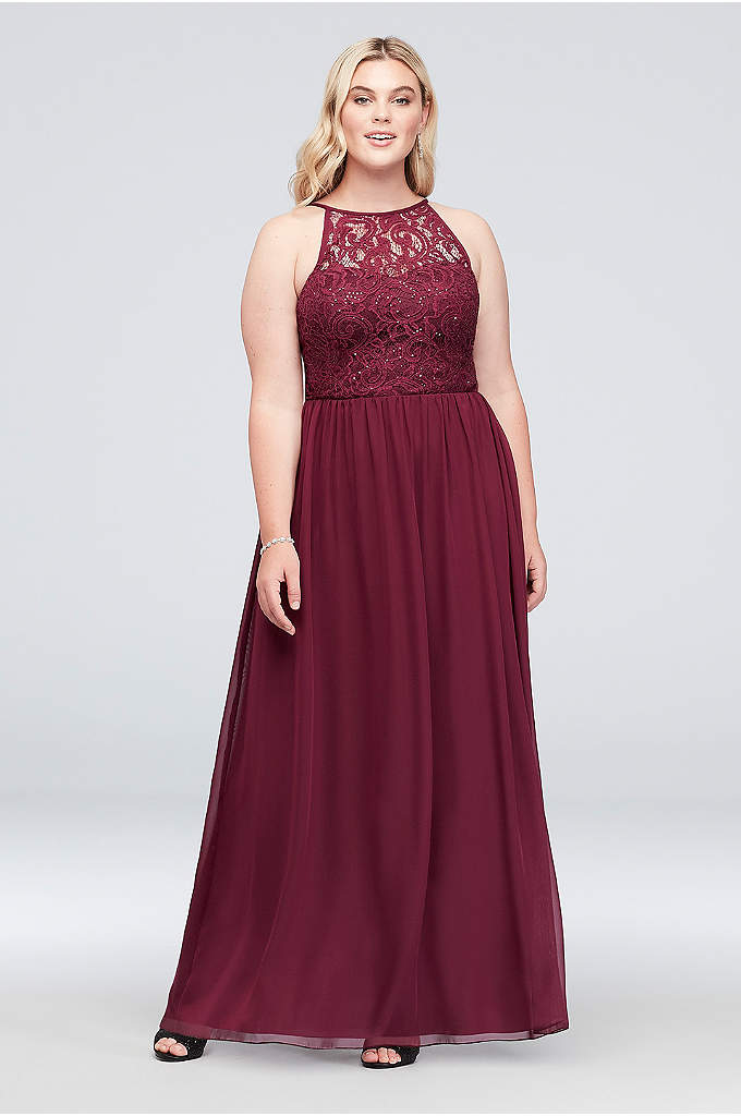 Illusion Lace and Chiffon Halter Plus Size Gown - A high halter neckline and soft A-line shape