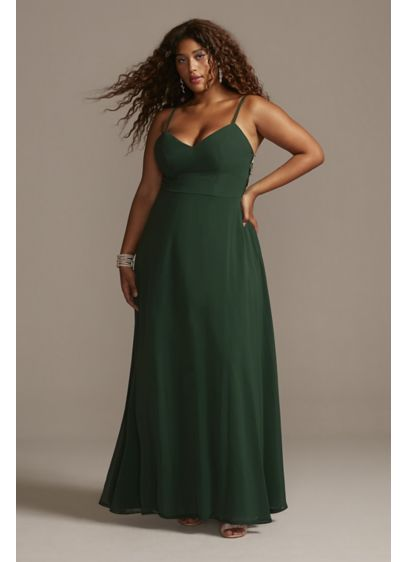 Corded Lace Back Plus Size Dress with Overlay - While a delicate chiffon overlay and spaghetti straps