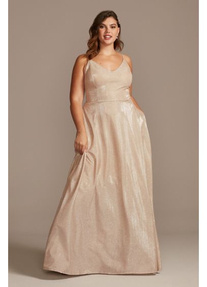 Glitter Knit Spaghetti Plus Size Gown with Pockets - If you're all about glitz and glamour, you'll