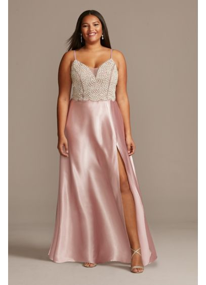 Plunging-V Beaded Bodice Plus Size Satin Gown - Wow-factor is an understatement when you wear this