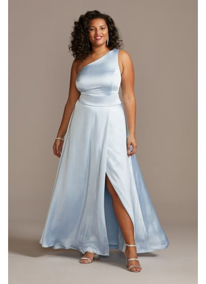One Shoulder Satin Plus Size Gown with Front - This classic A-line plus-size gown transforms into a