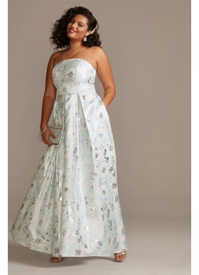 Strapless Foil Print Ballgown Plus Size Dress - This strapless ballgown plus size dress features a