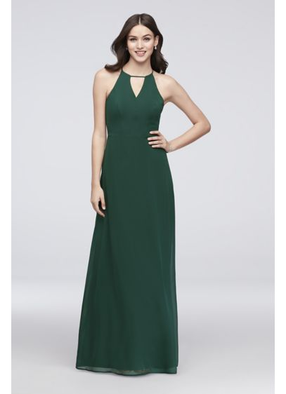 31035c13a30 Chiffon Keyhole Bridesmaid Dress with Cutaway Back
