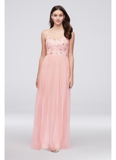 61027a1df540 Tulle Bridesmaid Dress with Embroidered Bodice