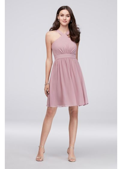 80b01db90b12 Y-Neck Pleated Chiffon Short Bridesmaid Dress | David's Bridal