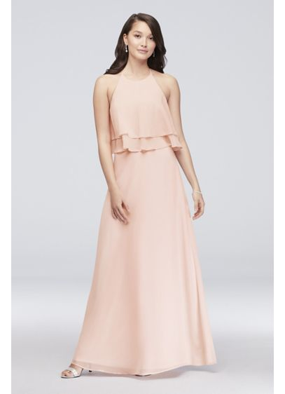 25ac2c0f25b Tiered Ruffle Chiffon High-Neck Bridesmaid Dress